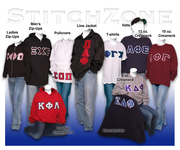 Greek Clothing, Greek Sweatshirt, and Greek Jackets, Greek Shop and Greek Store - StitchZone offers custom quality embroidery