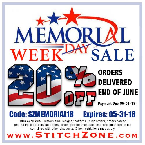StitchZone Memorial Week Sale