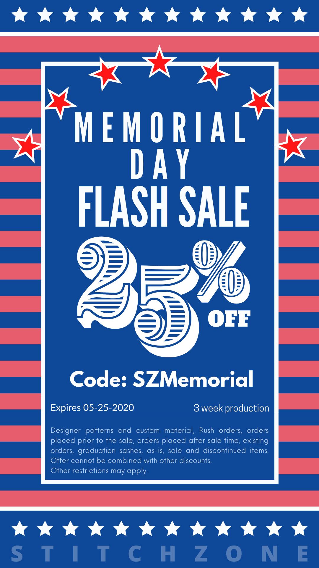StitchZone Memorial Day Sale