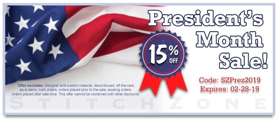 StitchZone President's Month Sale